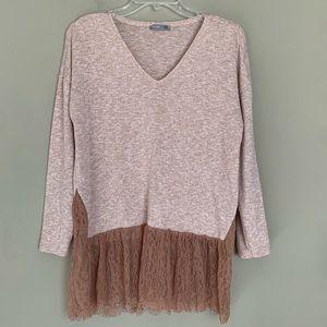 Zara Pink Long Sleeve Sweater Lace Trim Hem Small